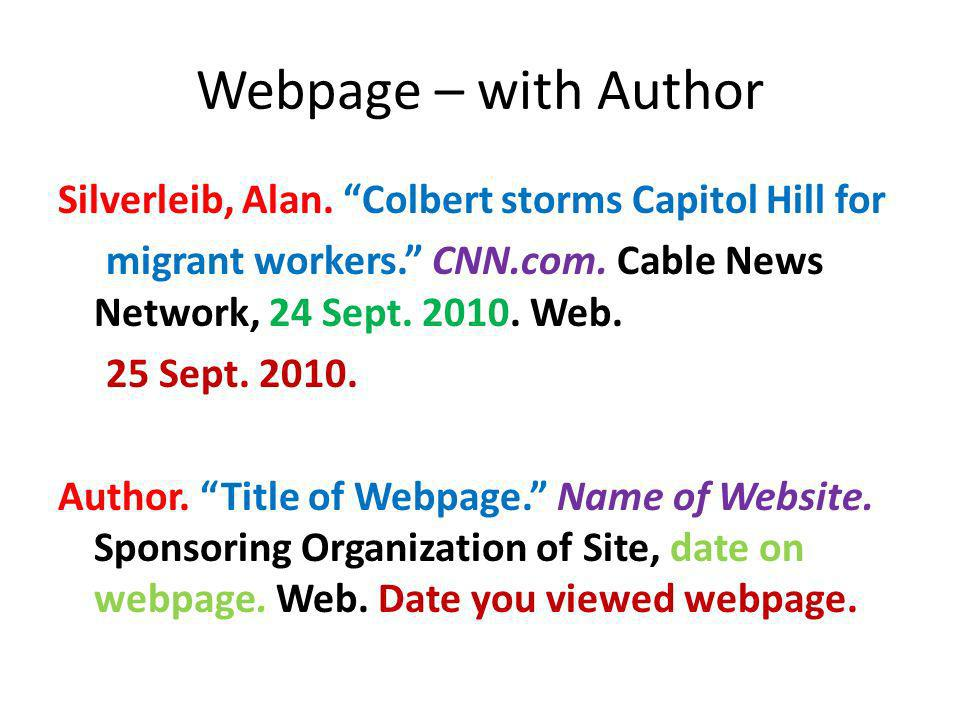 Webpage – with Author