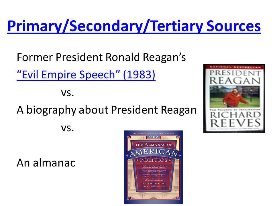Primary/Secondary/Tertiary Sources