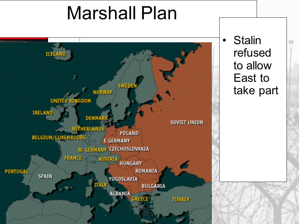 Marshall Plan Stalin refused to allow East to take part