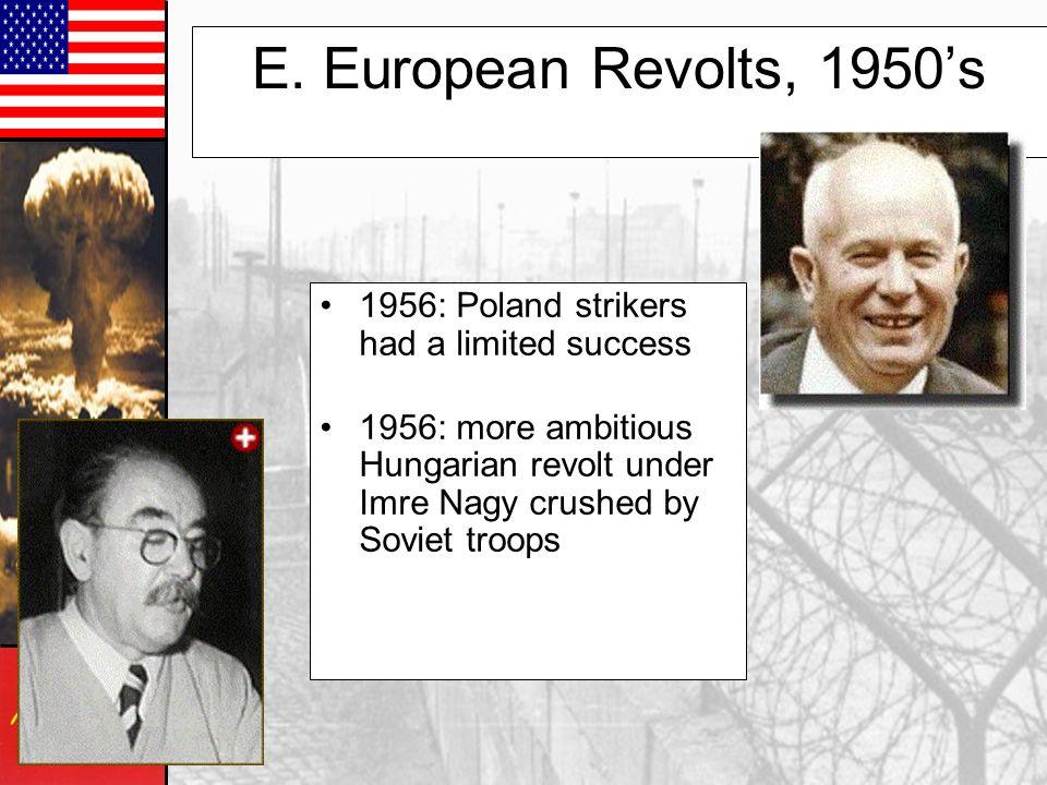 E. European Revolts, 1950's 1956: Poland strikers had a limited success.