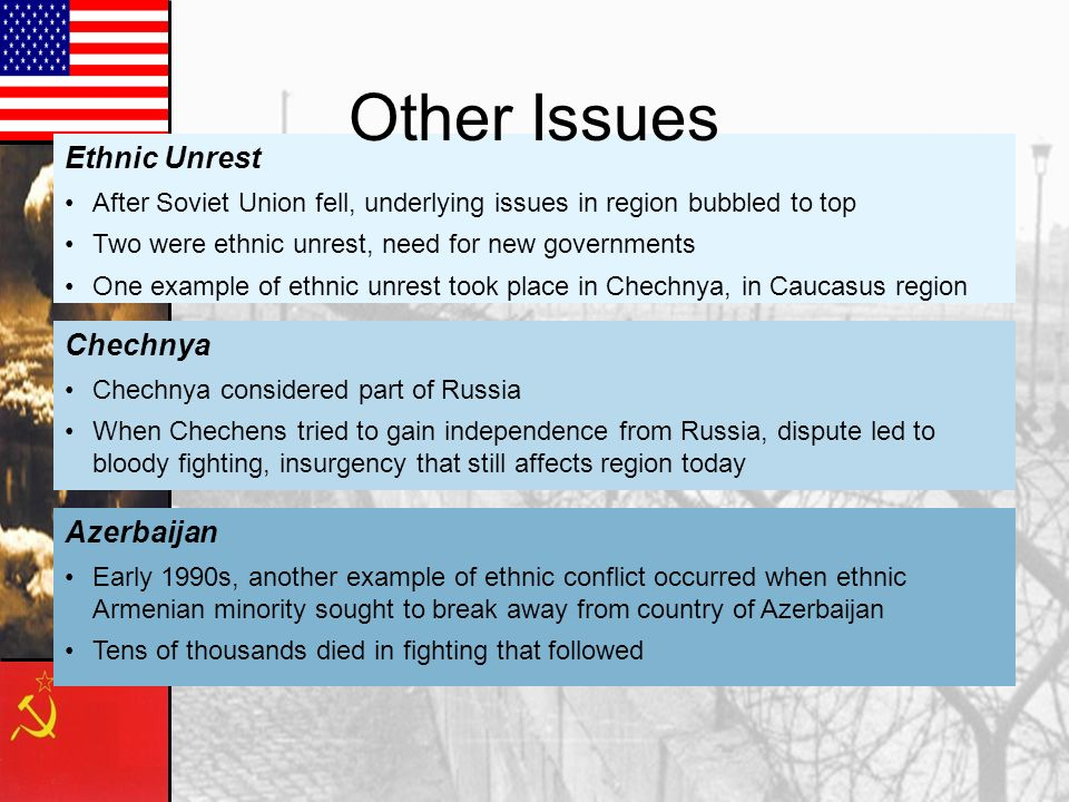 Other Issues Ethnic Unrest Chechnya Azerbaijan