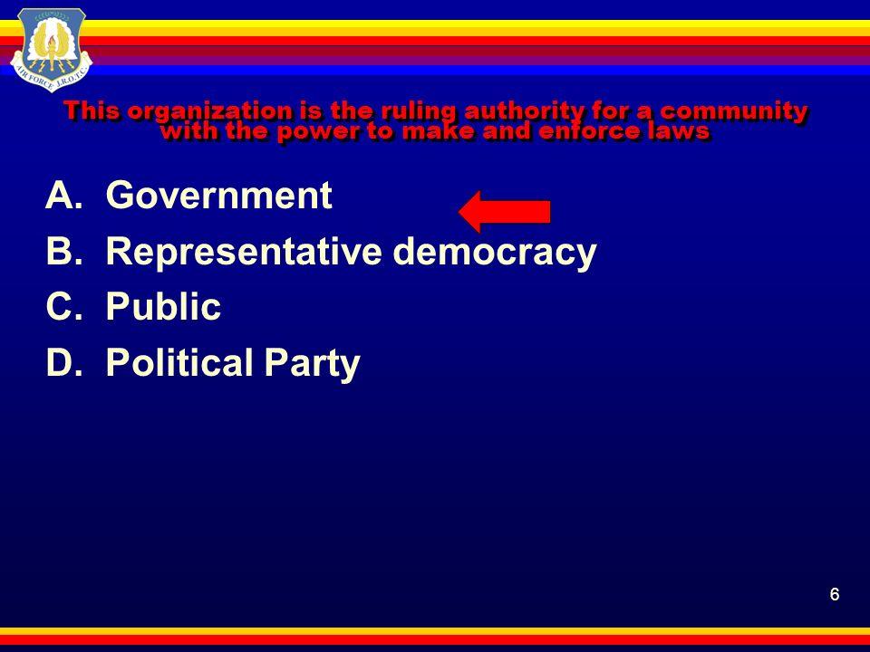 B. Representative democracy C. Public D. Political Party