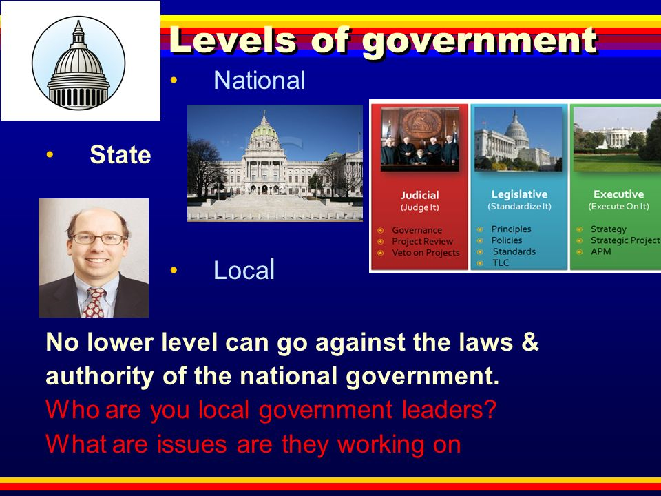 Levels of government National State Local