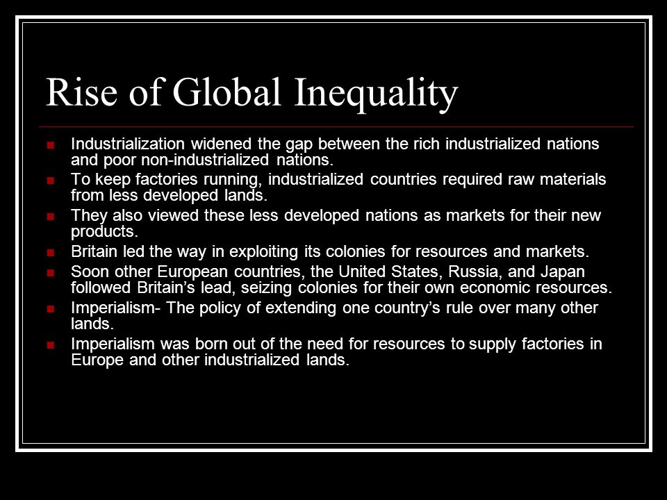 Rise of Global Inequality