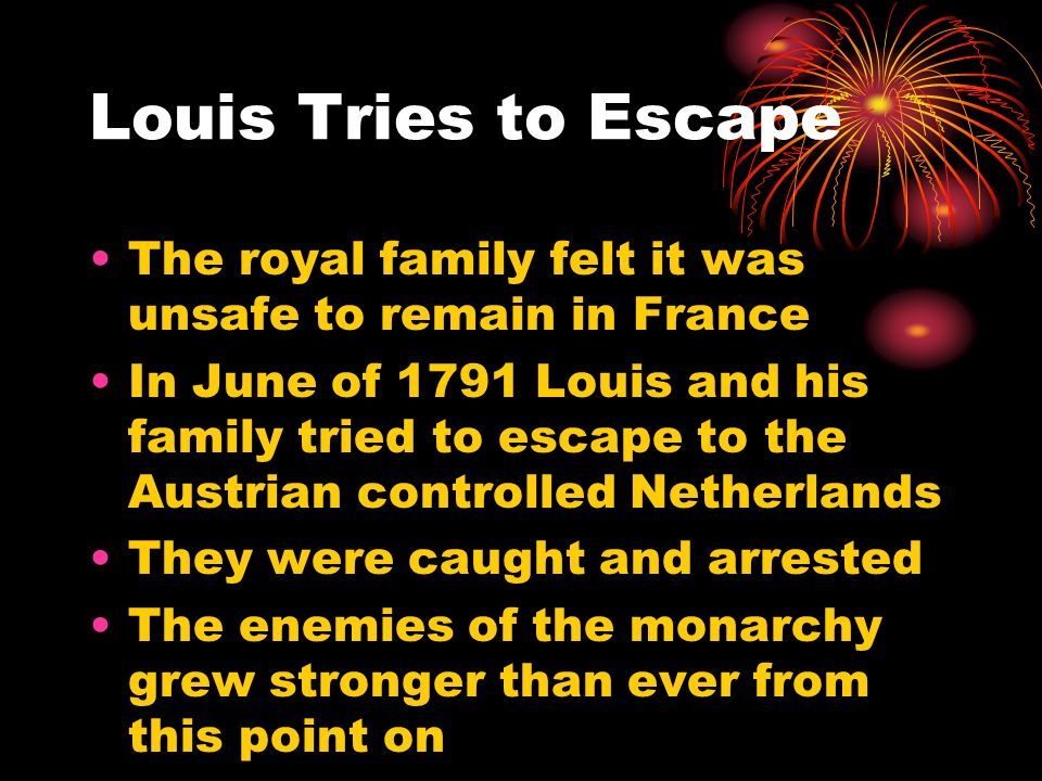 Louis Tries to Escape The royal family felt it was unsafe to remain in France.
