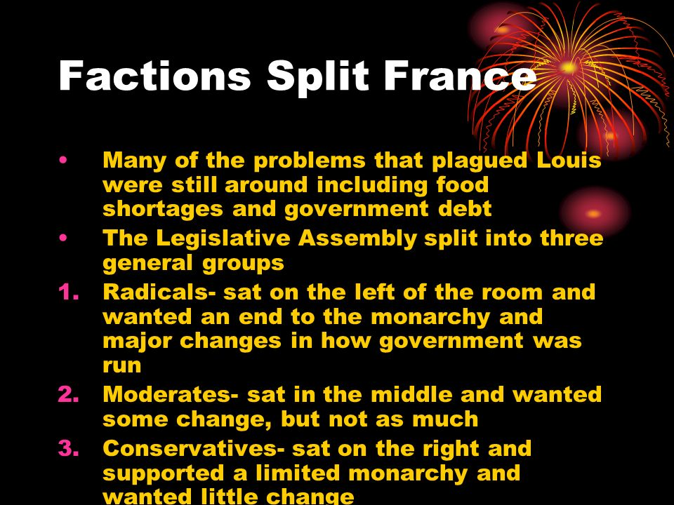 Factions Split France Many of the problems that plagued Louis were still around including food shortages and government debt.