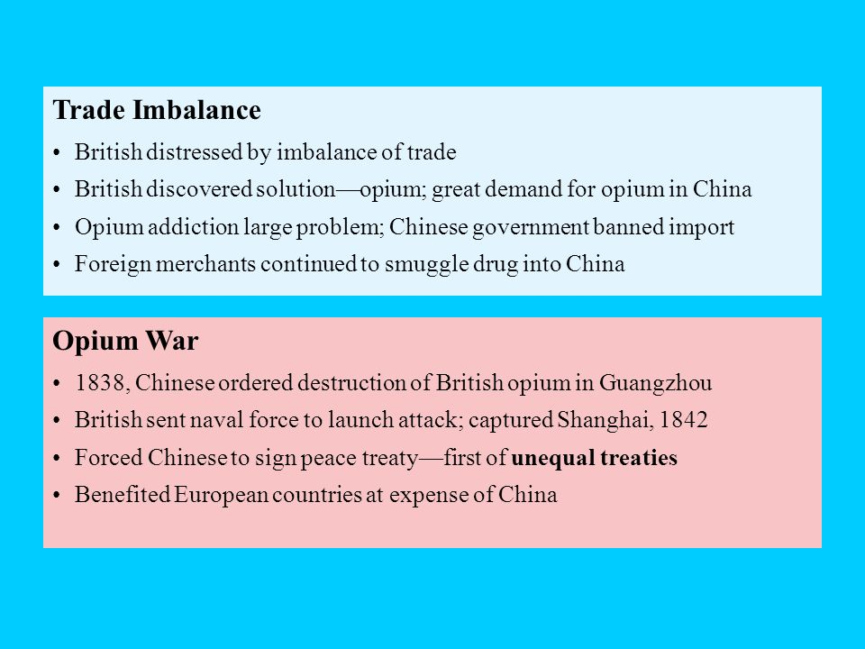 Trade Imbalance Opium War British distressed by imbalance of trade