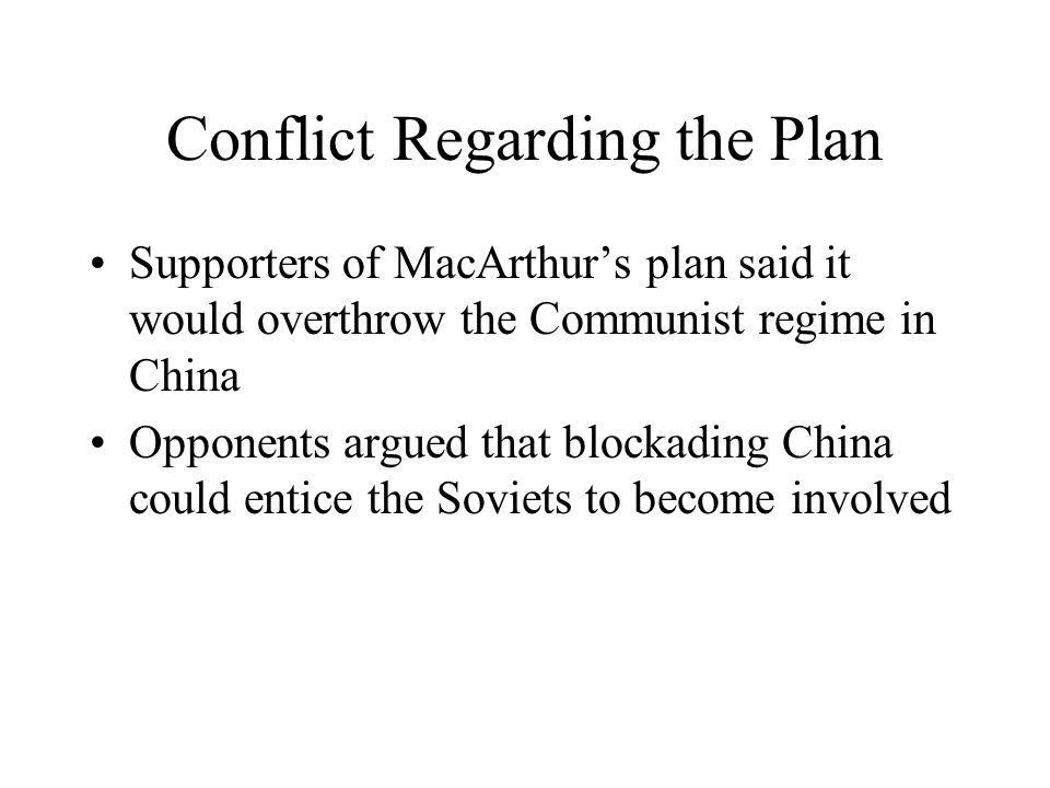 Conflict Regarding the Plan