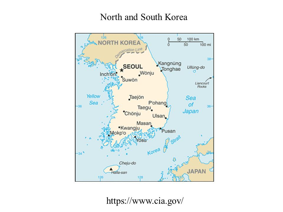 North and South Korea https://www.cia.gov/