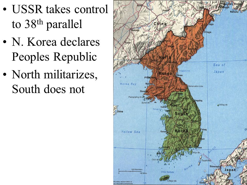 USSR takes control to 38th parallel N. Korea declares Peoples Republic