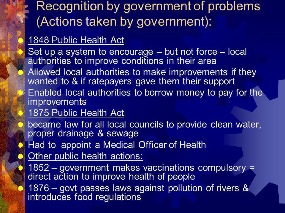 Recognition by government of problems (Actions taken by government):