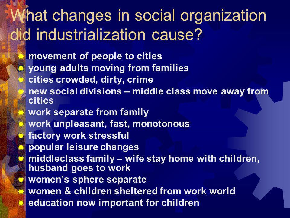 What changes in social organization did industrialization cause