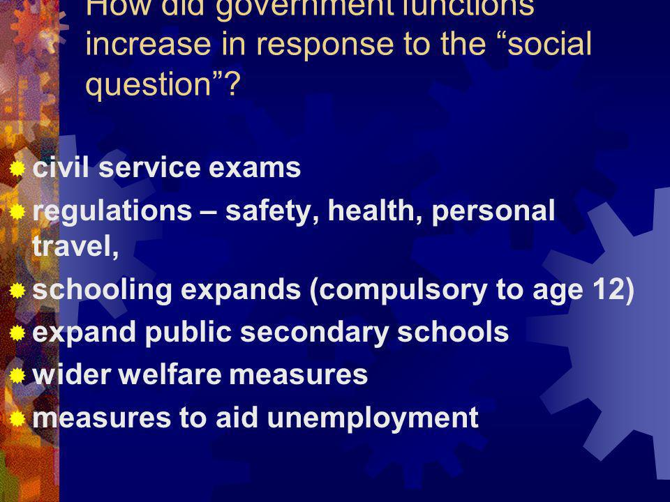How did government functions increase in response to the social question
