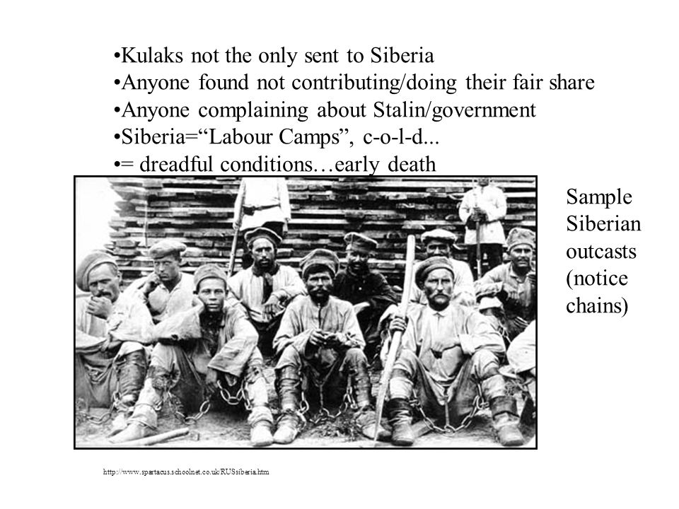 Kulaks not the only sent to Siberia