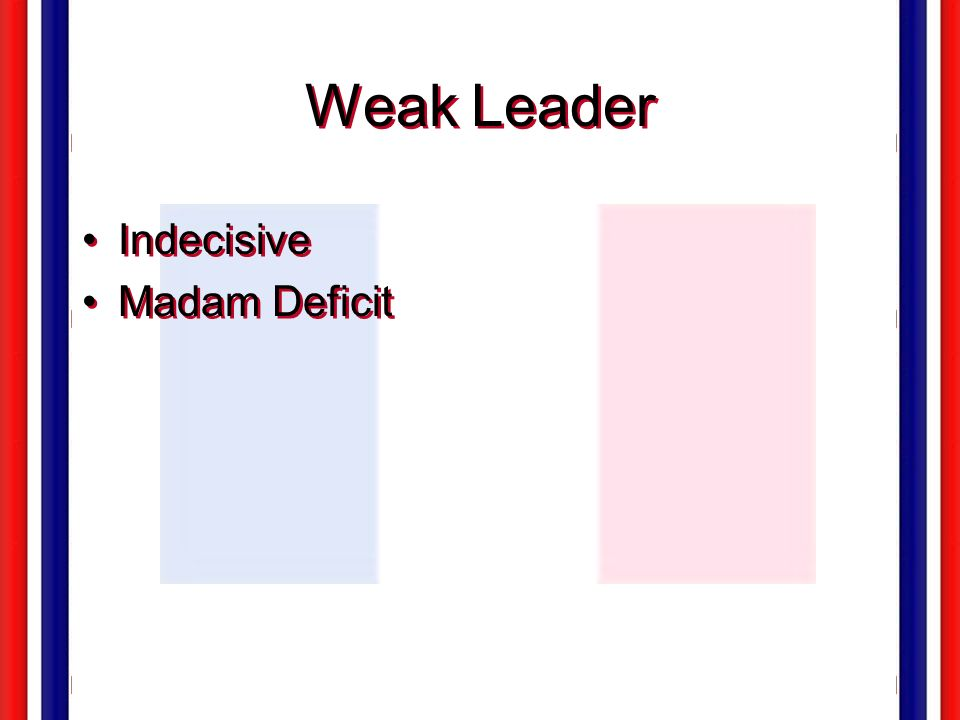 Weak Leader Indecisive Madam Deficit
