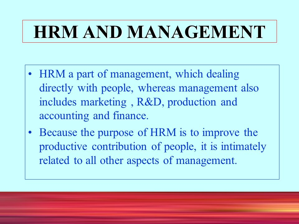 aspects of human resource management Aspects of human resource management the main focus of human resource management is personnel and how they can be best utilized to accomplish the mission of the organization based on several.