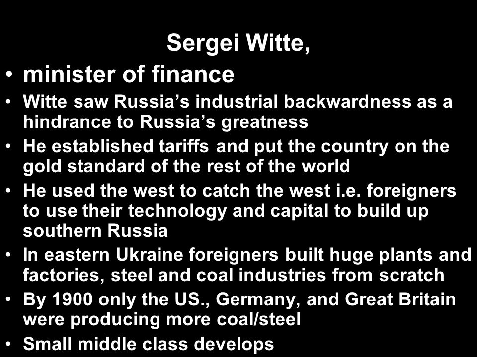 Sergei Witte, minister of finance