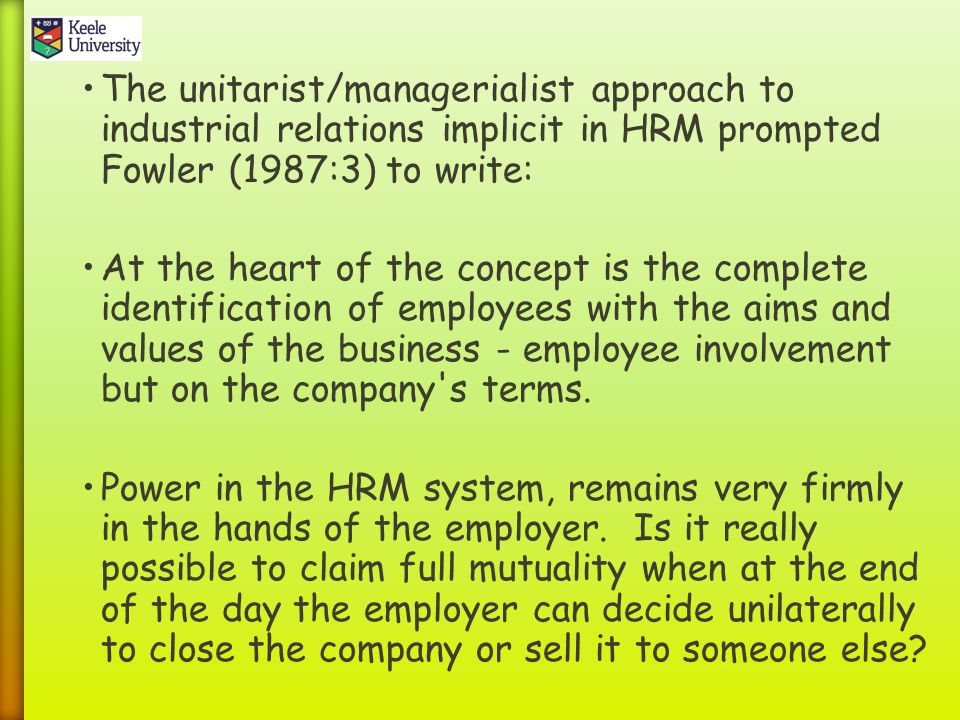 unitarist theory of industrial relations in the caribbean Pluralism is the theory that a multitude of groups, not the people as a whole what else accounts for the demand for public relations consultants.