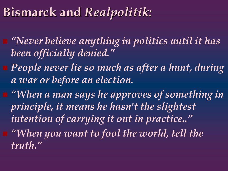 Bismarck and Realpolitik: