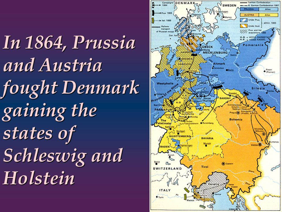 In 1864, Prussia and Austria fought Denmark gaining the states of Schleswig and Holstein