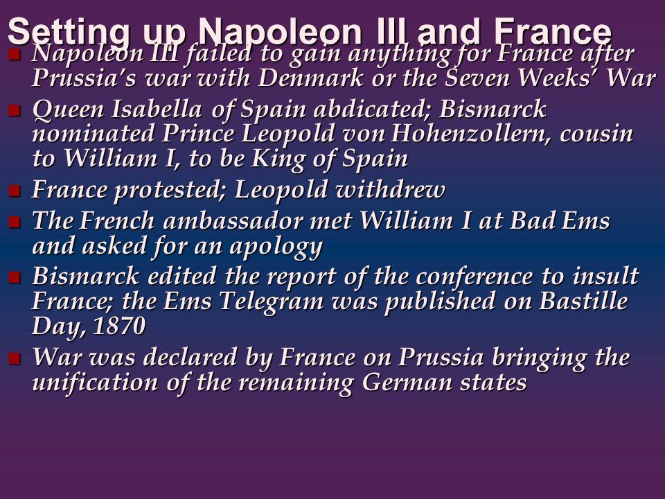 Setting up Napoleon III and France