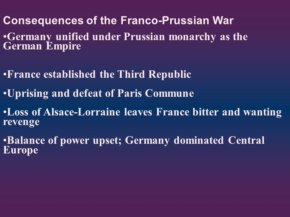 Consequences of the Franco-Prussian War