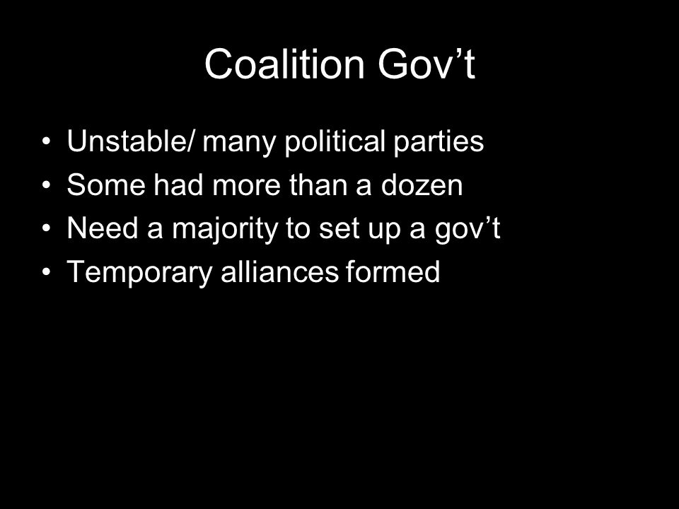 Coalition Gov't Unstable/ many political parties