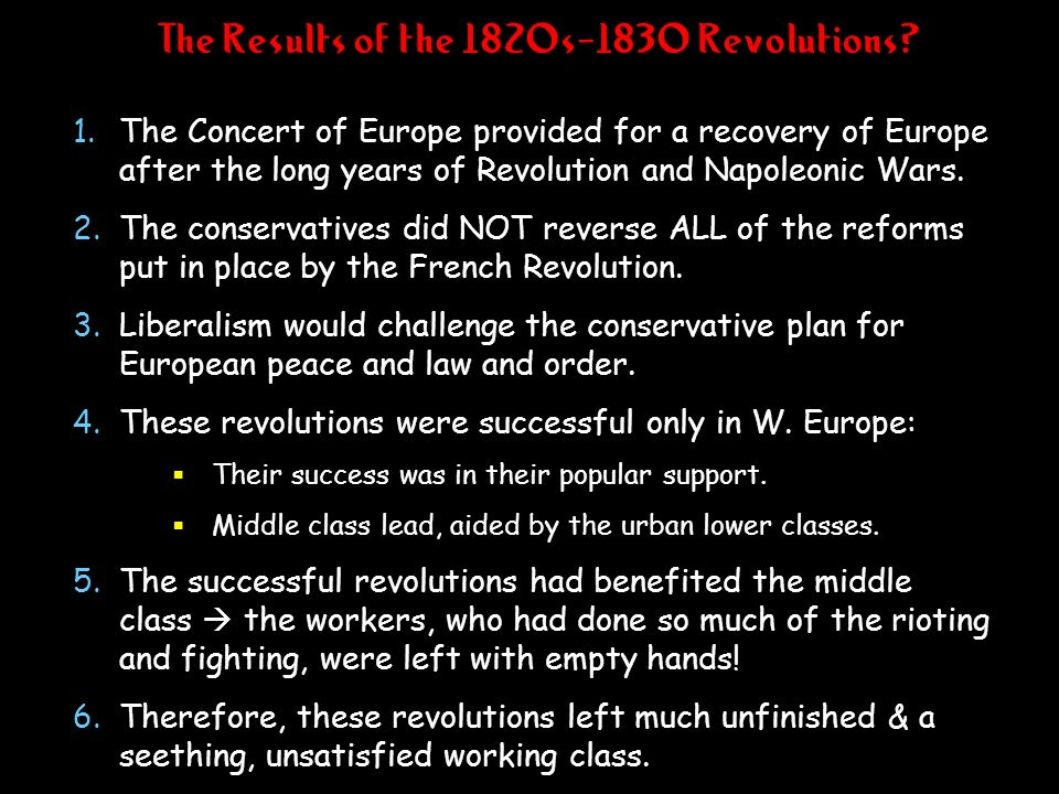 The Results of the 1820s-1830 Revolutions