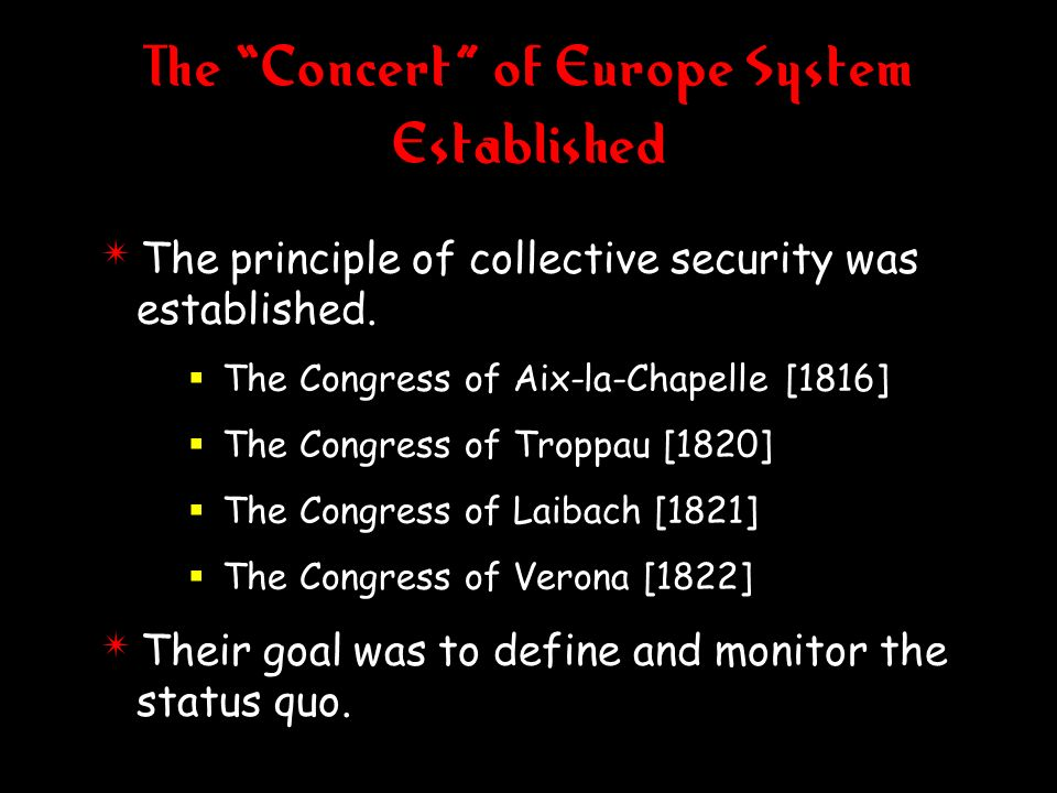 The Concert of Europe System Established