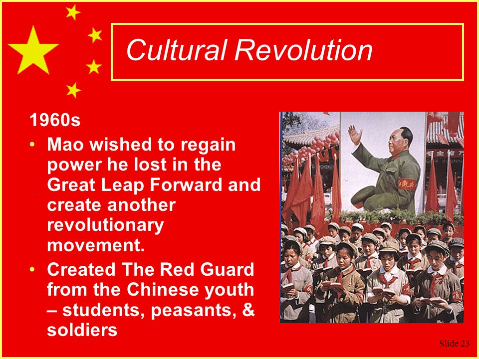 Cultural Revolution 1960s. Mao wished to regain power he lost in the Great Leap Forward and create another revolutionary movement.