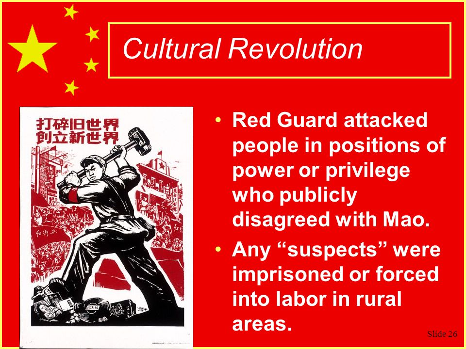 Cultural Revolution Red Guard attacked people in positions of power or privilege who publicly disagreed with Mao.