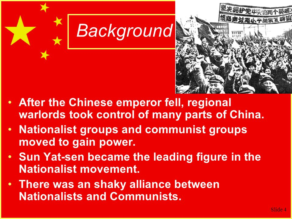 Background After the Chinese emperor fell, regional warlords took control of many parts of China.