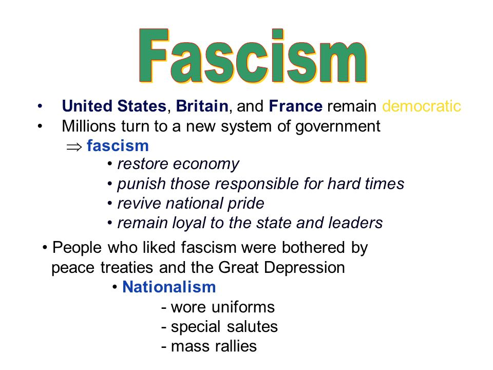 Fascism United States, Britain, and France remain democratic
