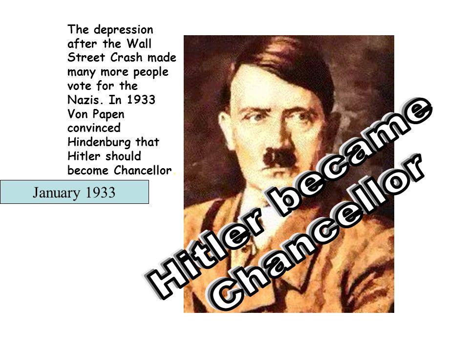 Hitler became Chancellor January 1933