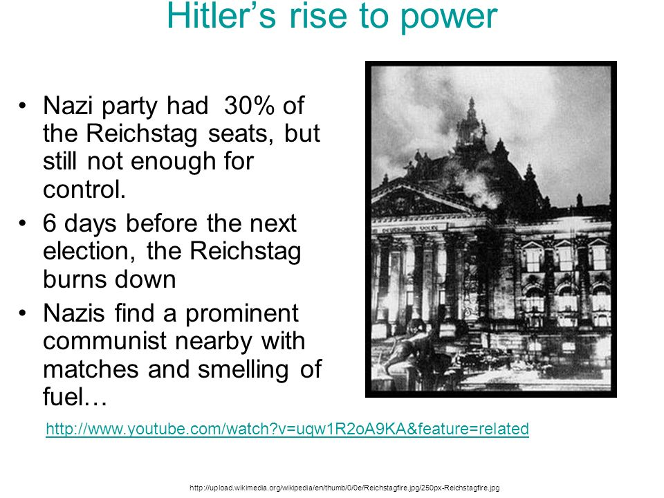 Hitler's rise to power Nazi party had 30% of the Reichstag seats, but still not enough for control.