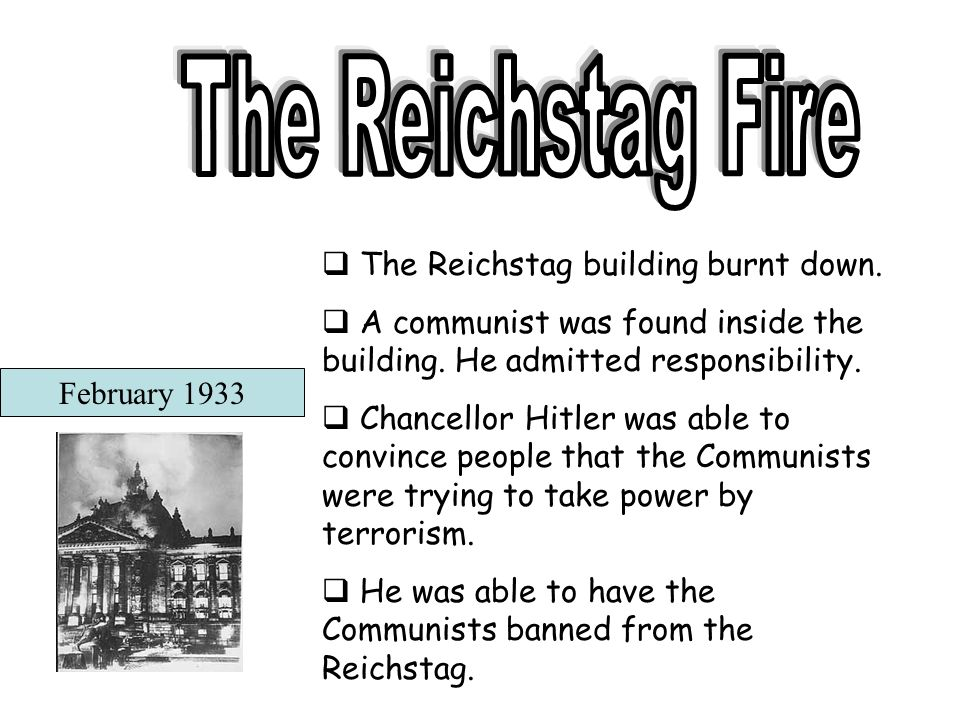 The Reichstag Fire The Reichstag building burnt down.