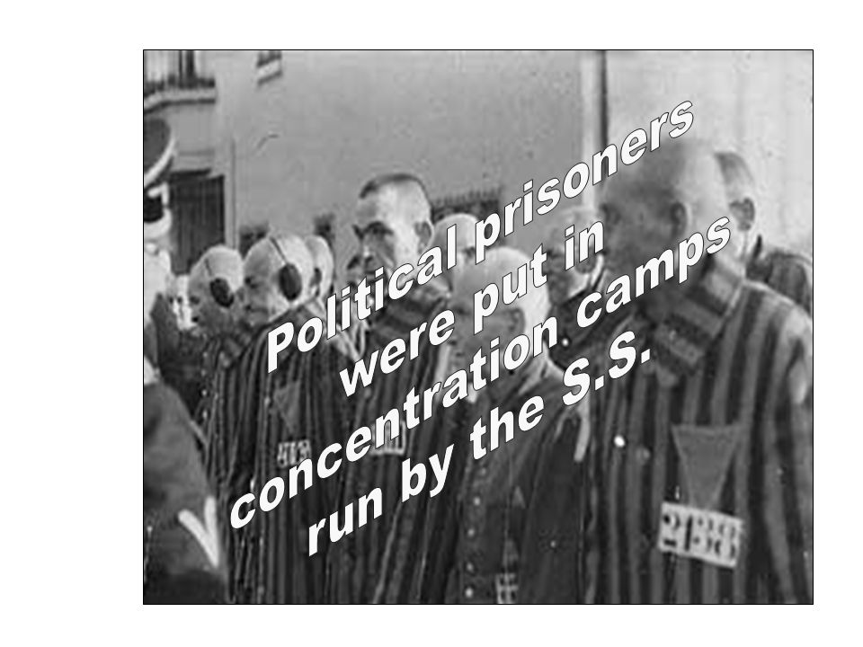 Political prisoners were put in concentration camps run by the S.S.