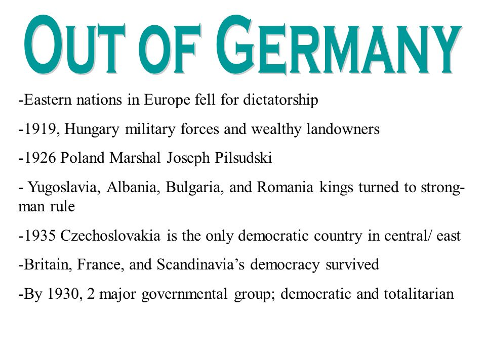 Out of Germany Eastern nations in Europe fell for dictatorship