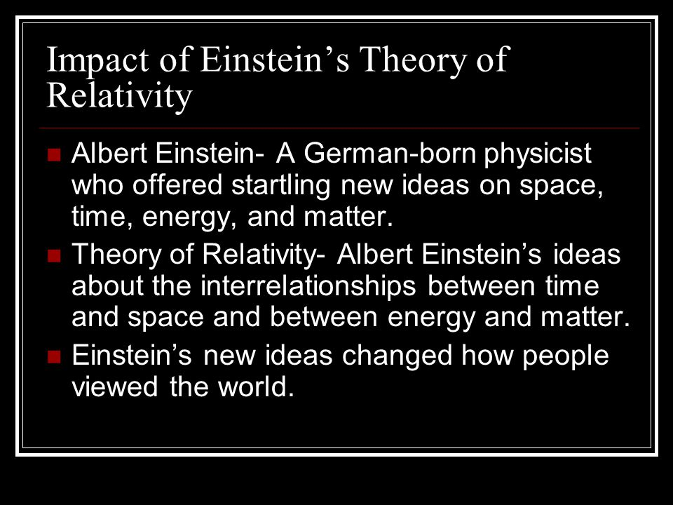 Impact of Einstein's Theory of Relativity