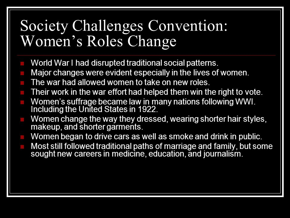 Society Challenges Convention: Women's Roles Change