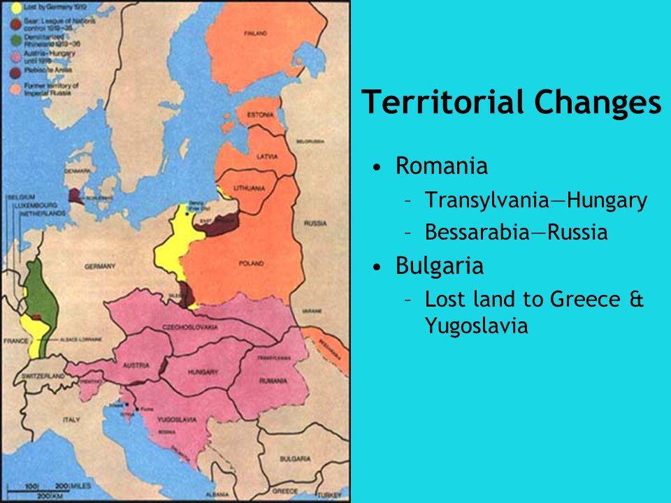 Territorial Changes Romania Bulgaria Transylvania—Hungary