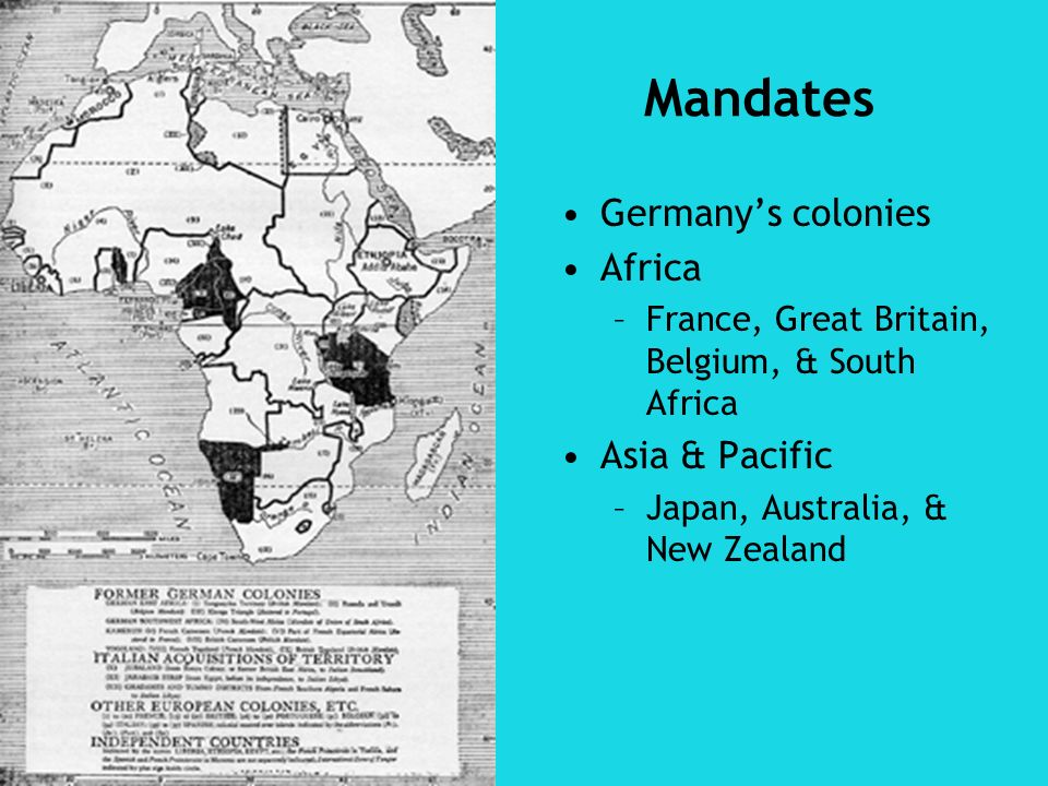 Mandates Germany's colonies Africa Asia & Pacific