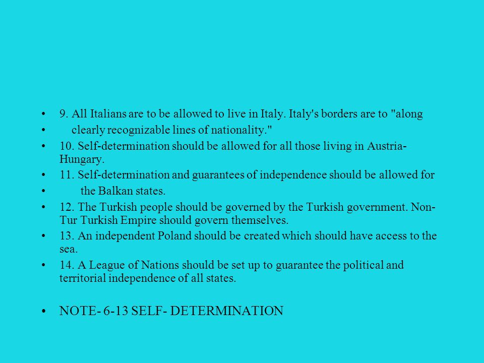 NOTE- 6-13 SELF- DETERMINATION