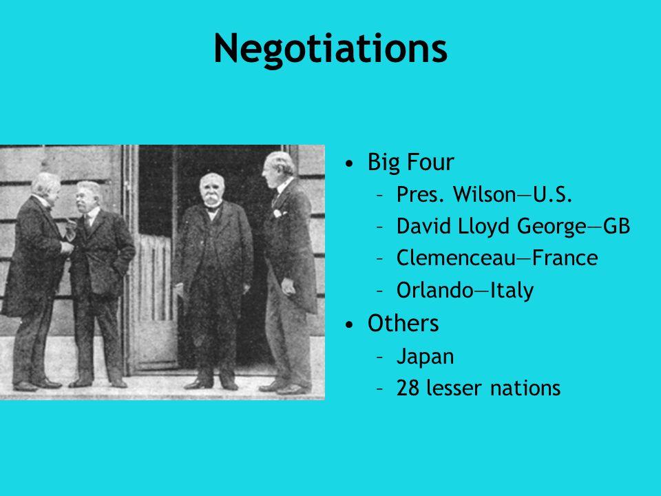 Negotiations Big Four Others Pres. Wilson—U.S. David Lloyd George—GB