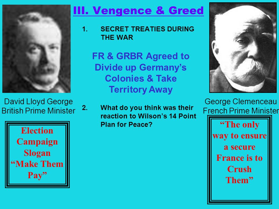 III. Vengence & Greed FR & GRBR Agreed to Divide up Germany's