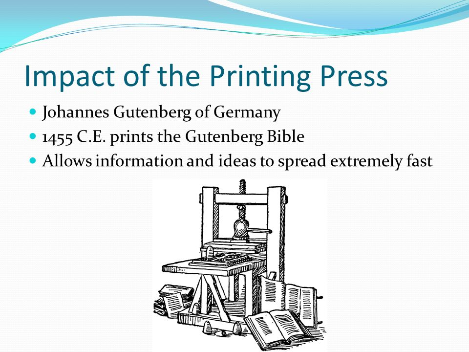 impact printing press essay The impact of printing press in europe essay the impact of printing in europe introduction even though reading and writing skills were regarded advantageous in medieval europe, it remains a practical skill for many, a criterion rather than a cultural requirement.
