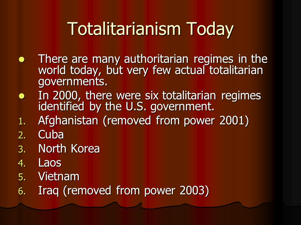 Totalitarianism Today