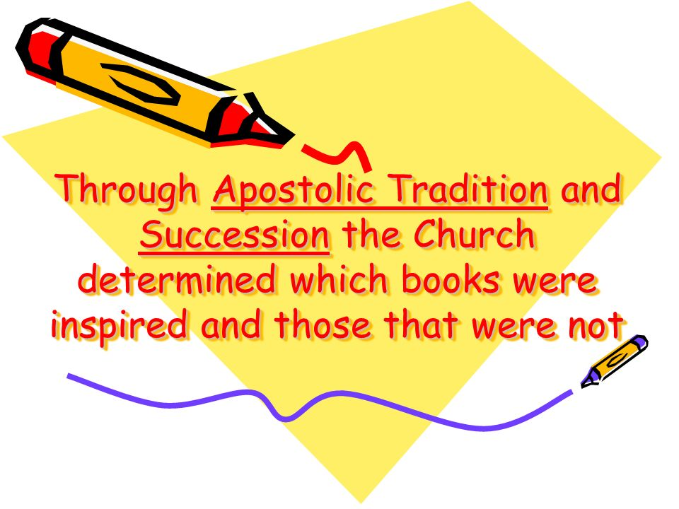 Through Apostolic Tradition and Succession the Church determined which books were inspired and those that were not