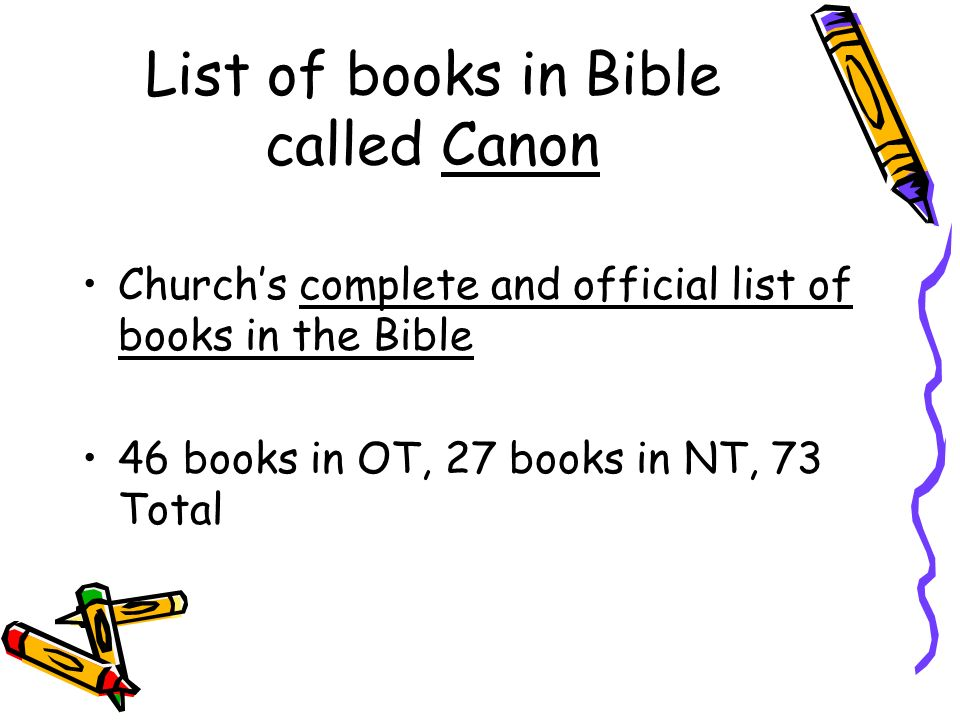 List of books in Bible called Canon
