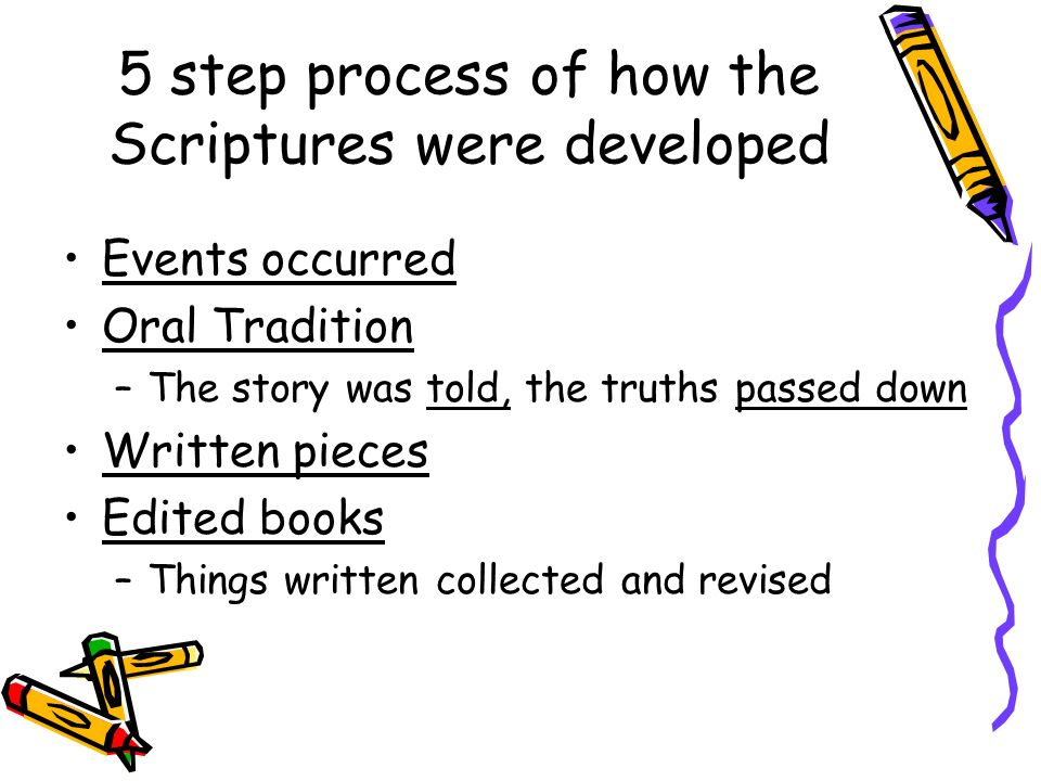 5 step process of how the Scriptures were developed